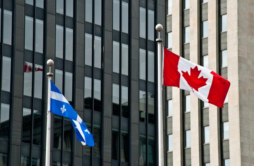 Drapeaux québecois et canadiens